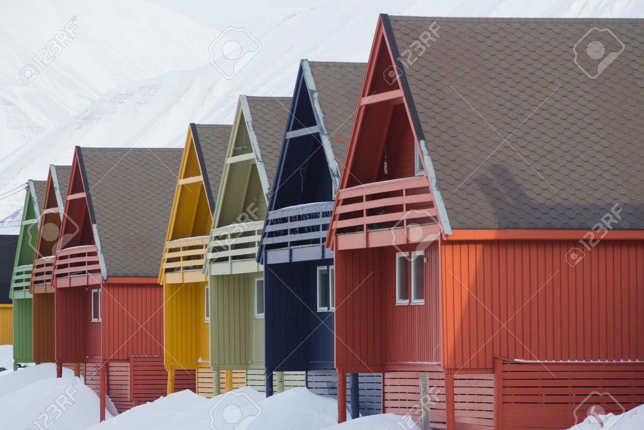 A city details of Longyearbyen - the most Northern settlement in the world. Spitsbergen Svalbard. Norway. - 53960597