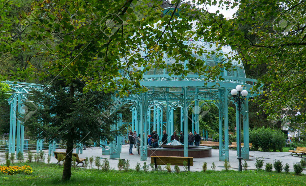 BORJOMI, GEORGIA - SEP 27, 2016: The source of mineral water in city Park - 77282286