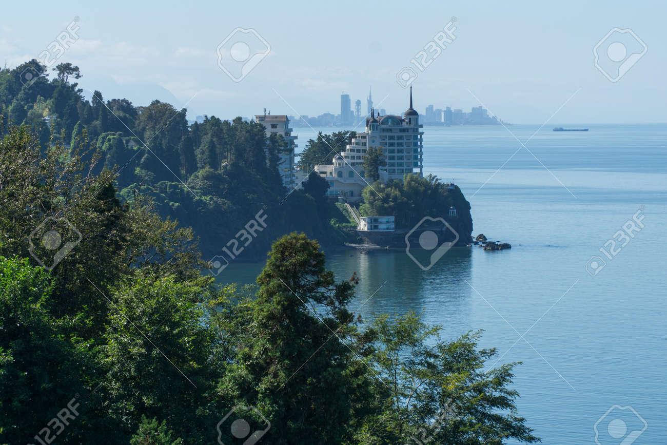 The sea view from the Botanical Gardens in Batumi, Georgia. - 77010496