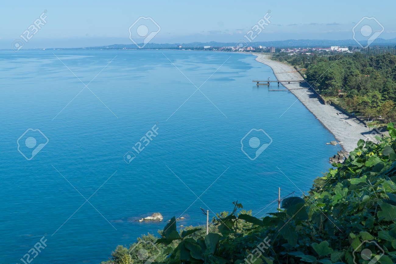 The sea view from the Botanical Gardens in Batumi, Georgia. - 77010392
