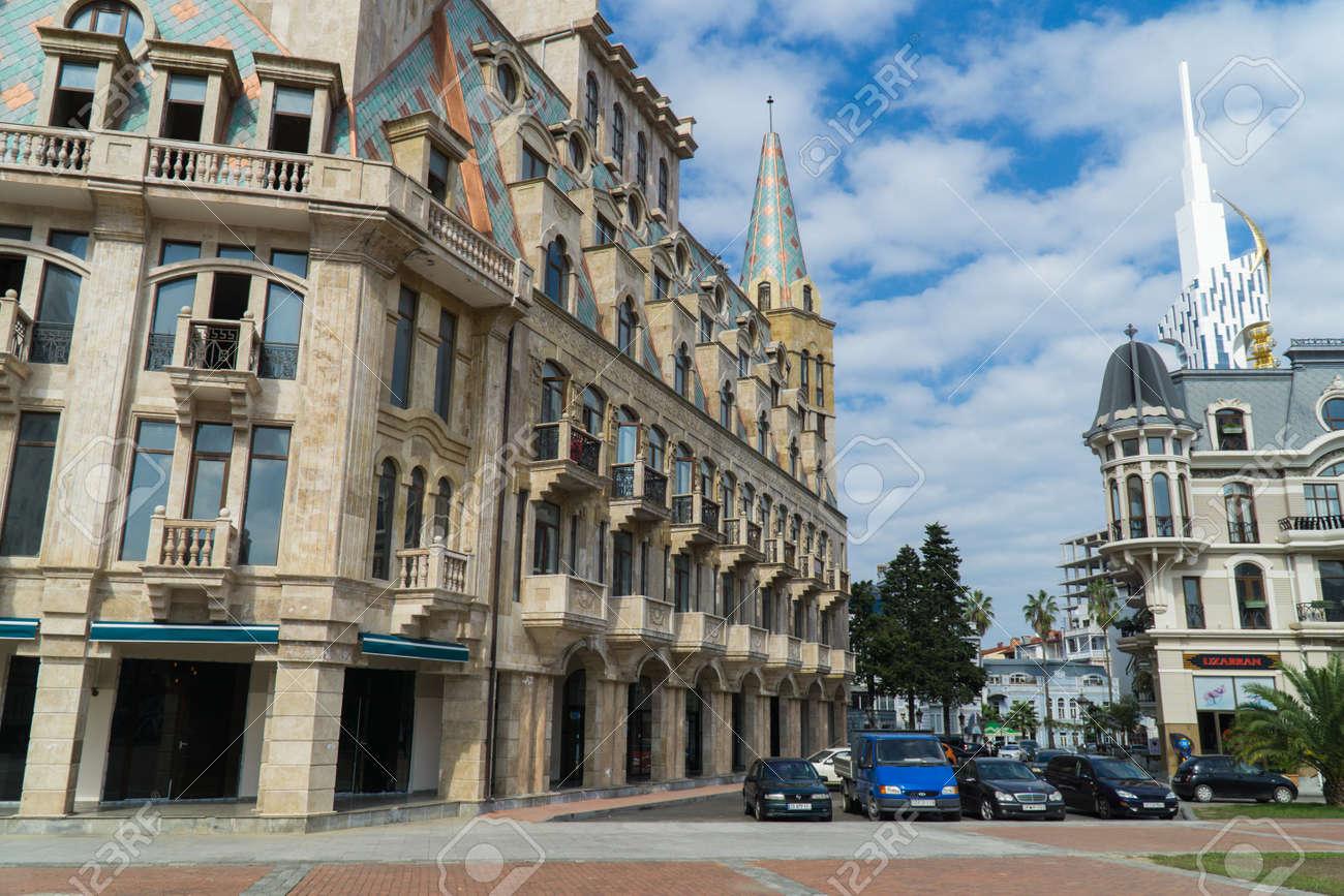 BATUMI, GEORGIA - OCT 7, 2016: Buildings on the Europe square in the city centre - 77282291
