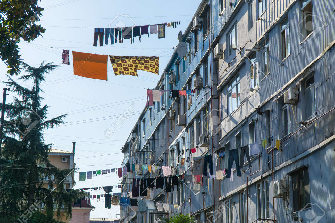 Clothes drying in traditional way on the street of Batumi, Georgia - 77051688