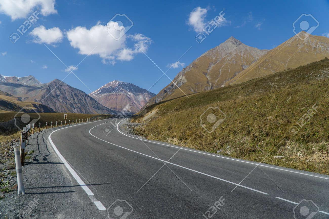 The Georgian military road in Georgia in the area of mount Kazbek - 77008103