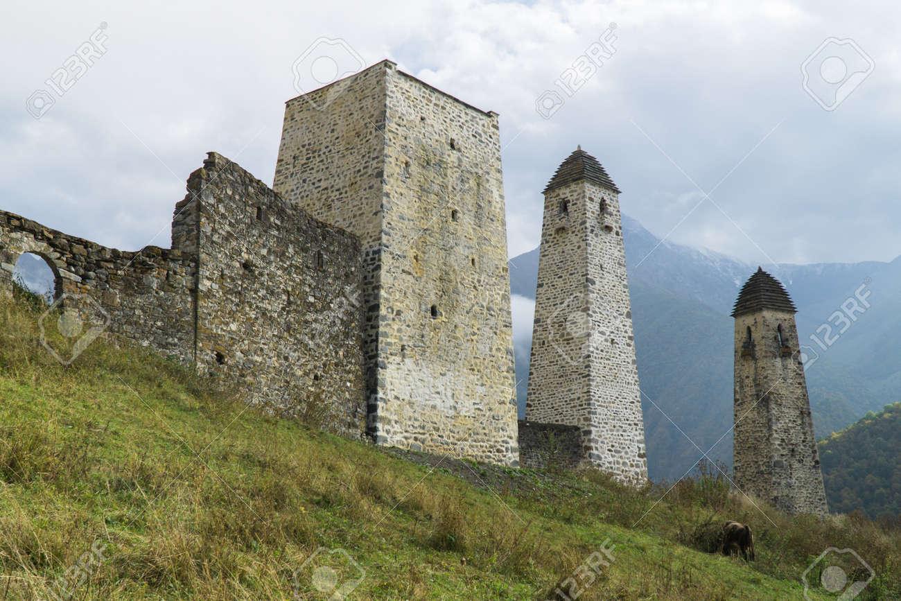 Battle towers Erzi in the Jeyrah gorge, Republic of Ingushetia - 77051692
