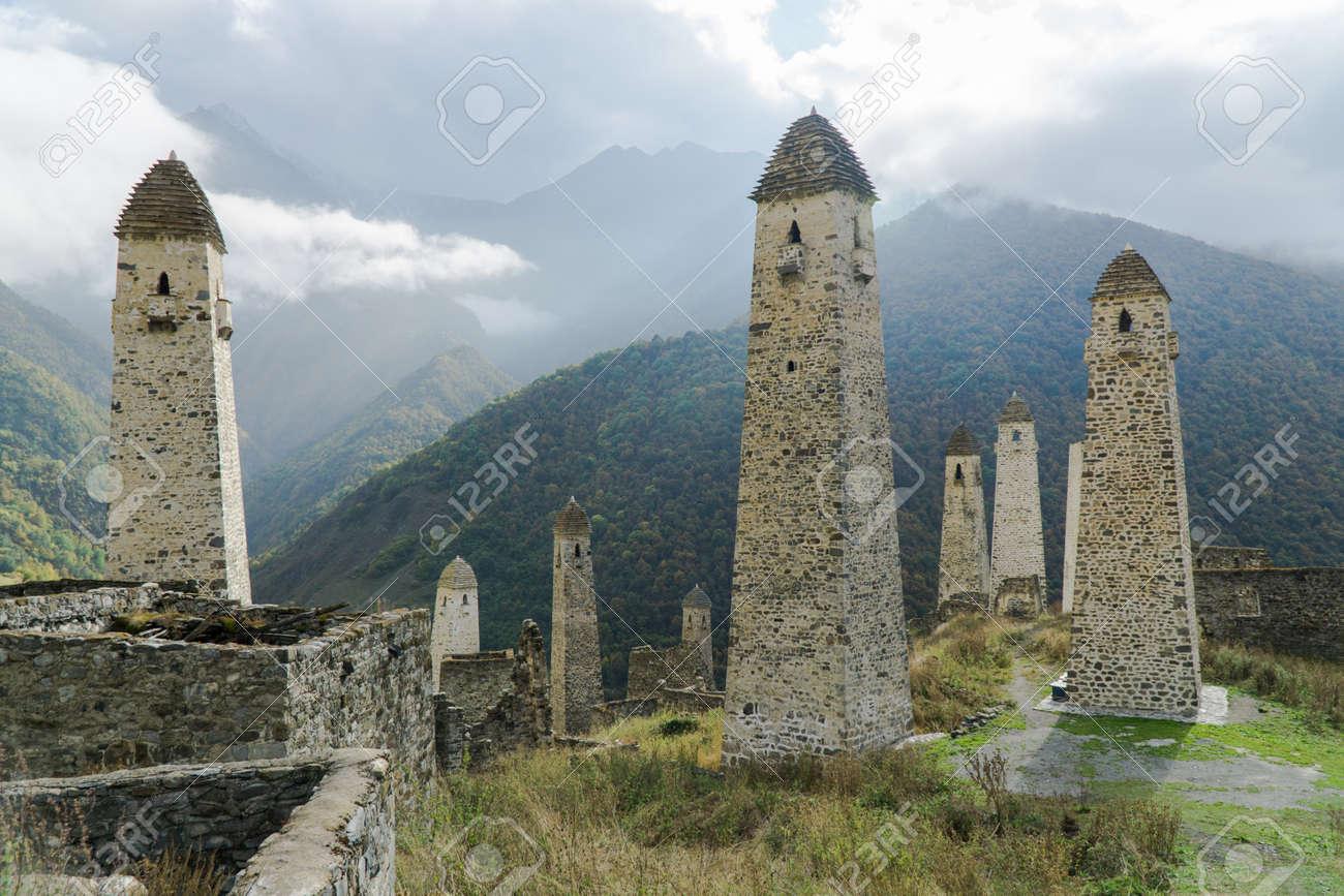 Battle towers Erzi in the Jeyrah gorge, Republic of Ingushetia - 77051630