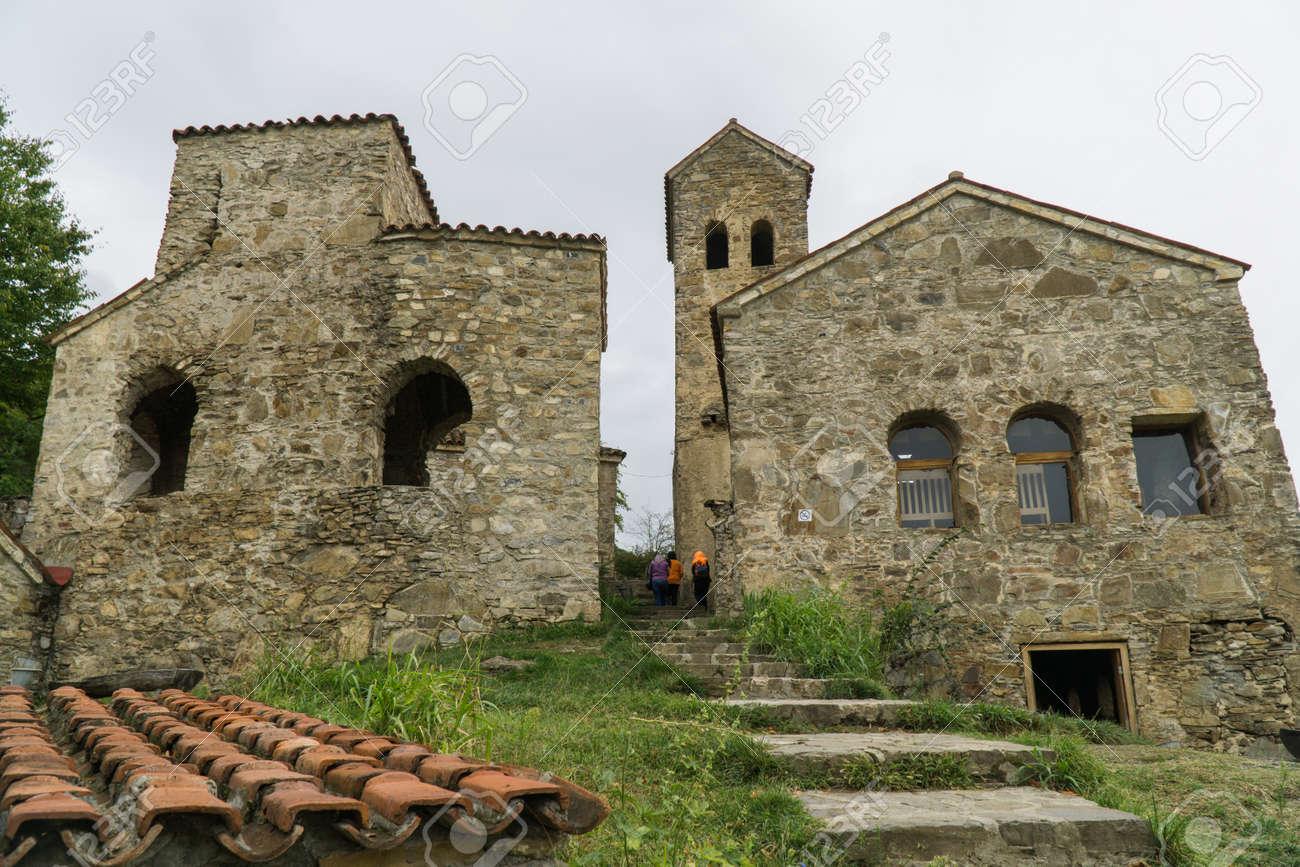 The monastery of the Dormition of the Theotokos in Nekresi. Kakheti, Georgia. Cloudy day - 77051646