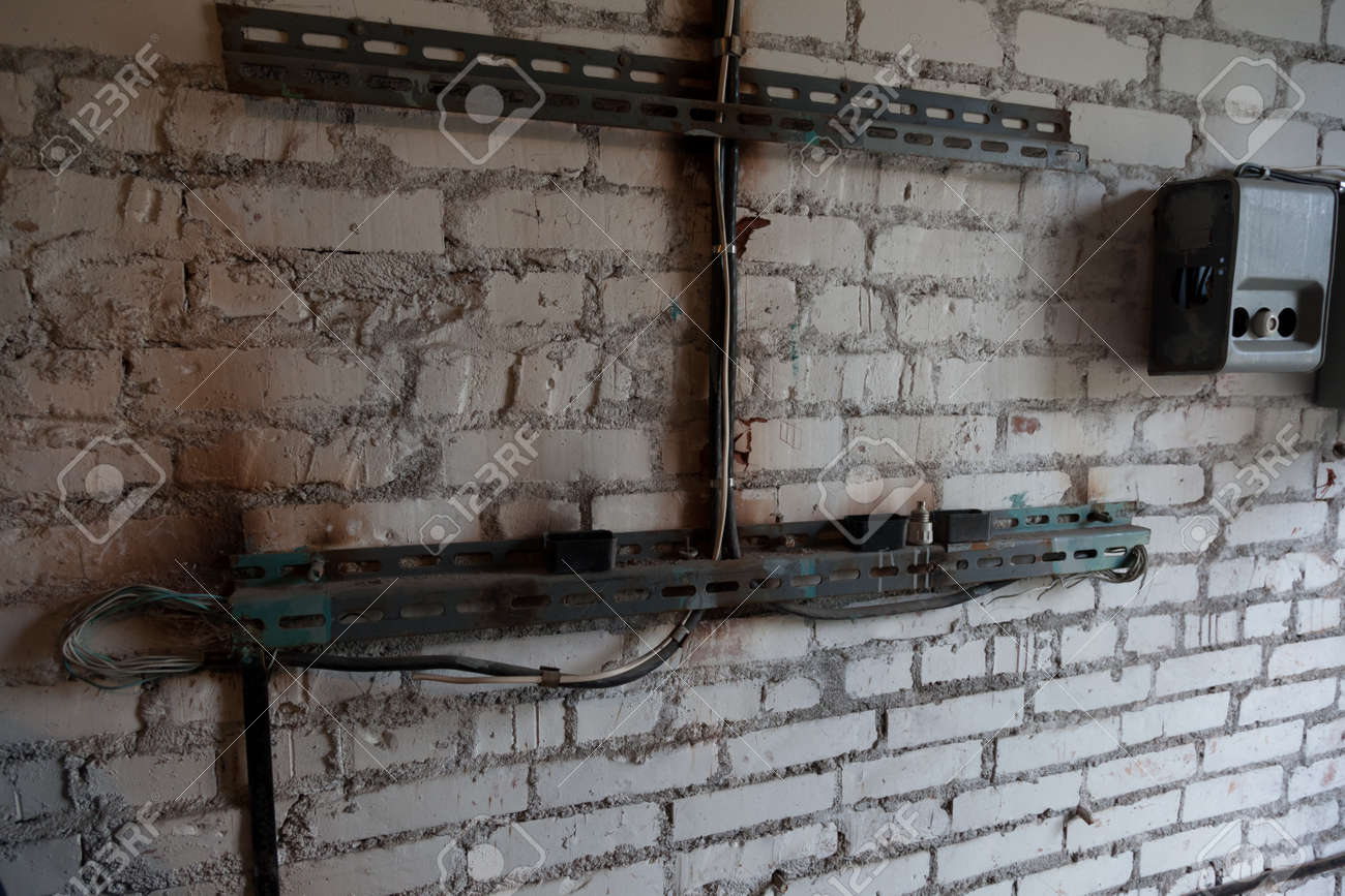 electrical wiring in a dangerous condition on the brick wall stock rh 123rf com In-Wall Wiring -Diagram In-Wall Wiring -Diagram