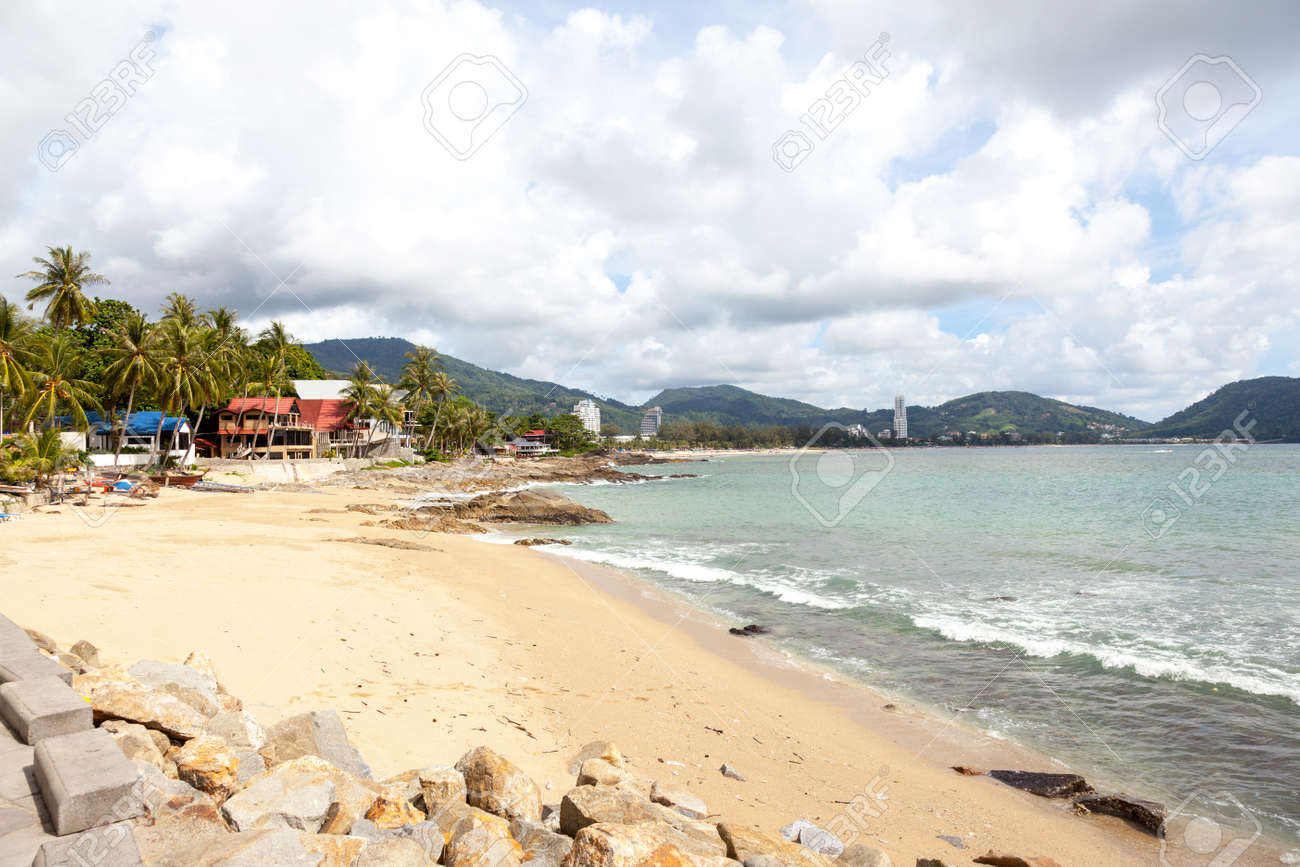 Kalim Beach in Patong, view from the embankment. Highway 4233. Thailand, Phuket. - 35287490