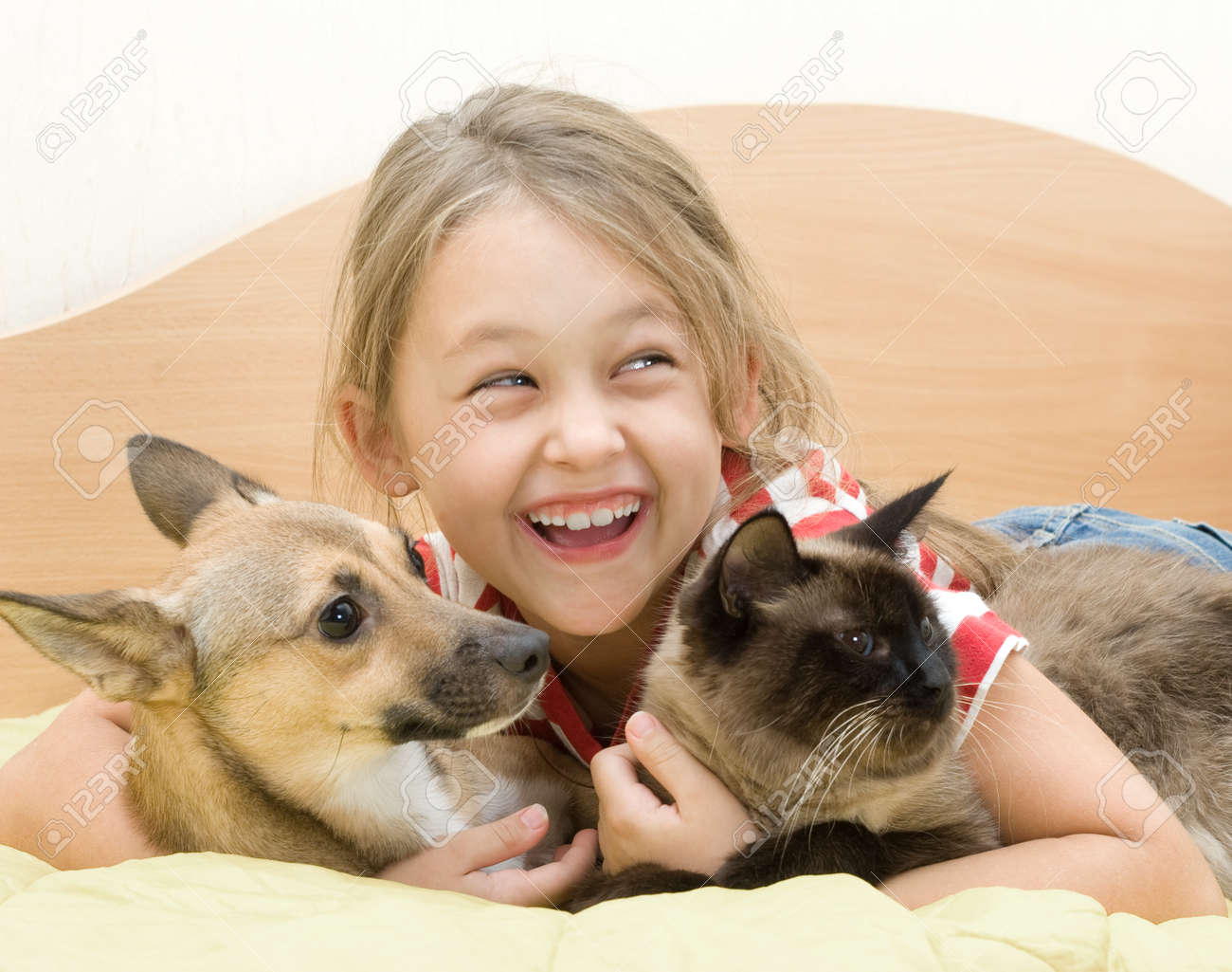 little girl with a dog and a cat on a bed of yellow color - 22392210
