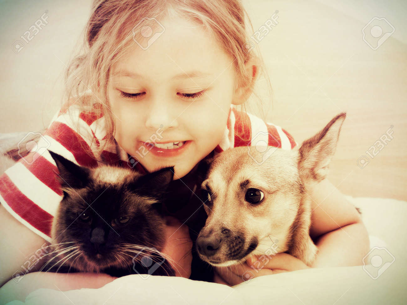 child and dog and cat - 27724004