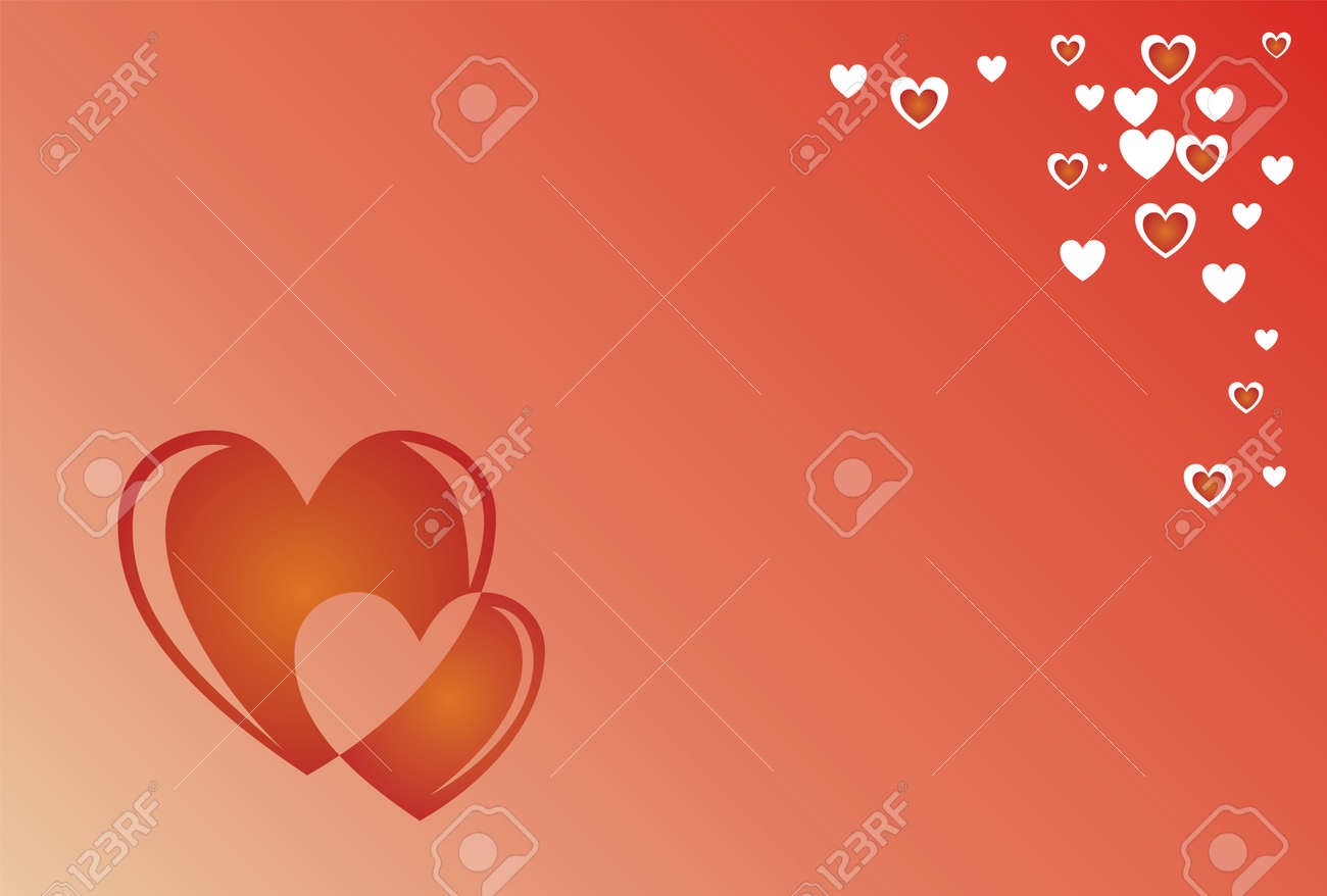 Two hearts vector on red backround Stock Vector - 13502609