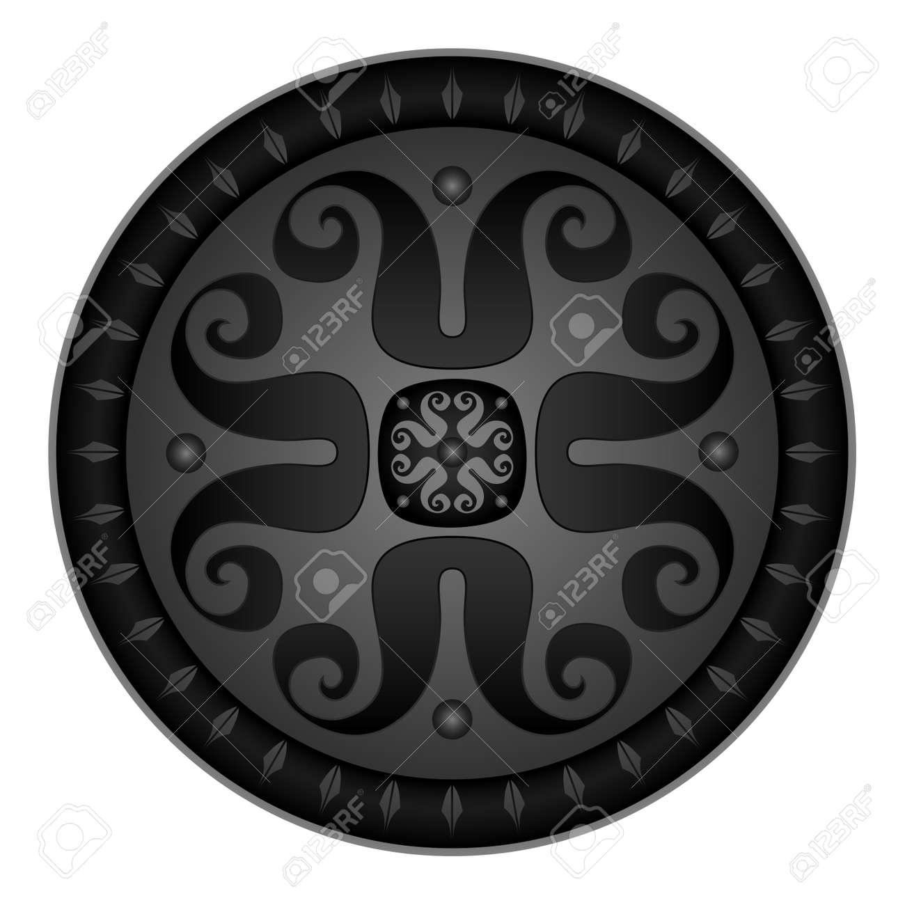 Vector illustration of round medieval shield, isolated on white background Stock Vector - 17844642