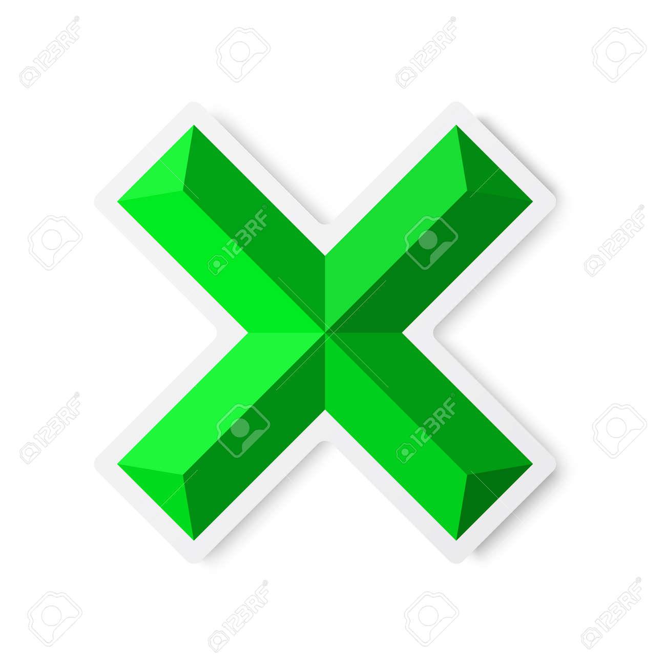 Check mark, cross, isolated on white, illustration