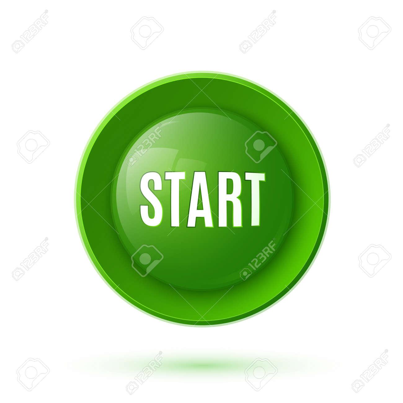 Green glossy start button icon Vector illustration