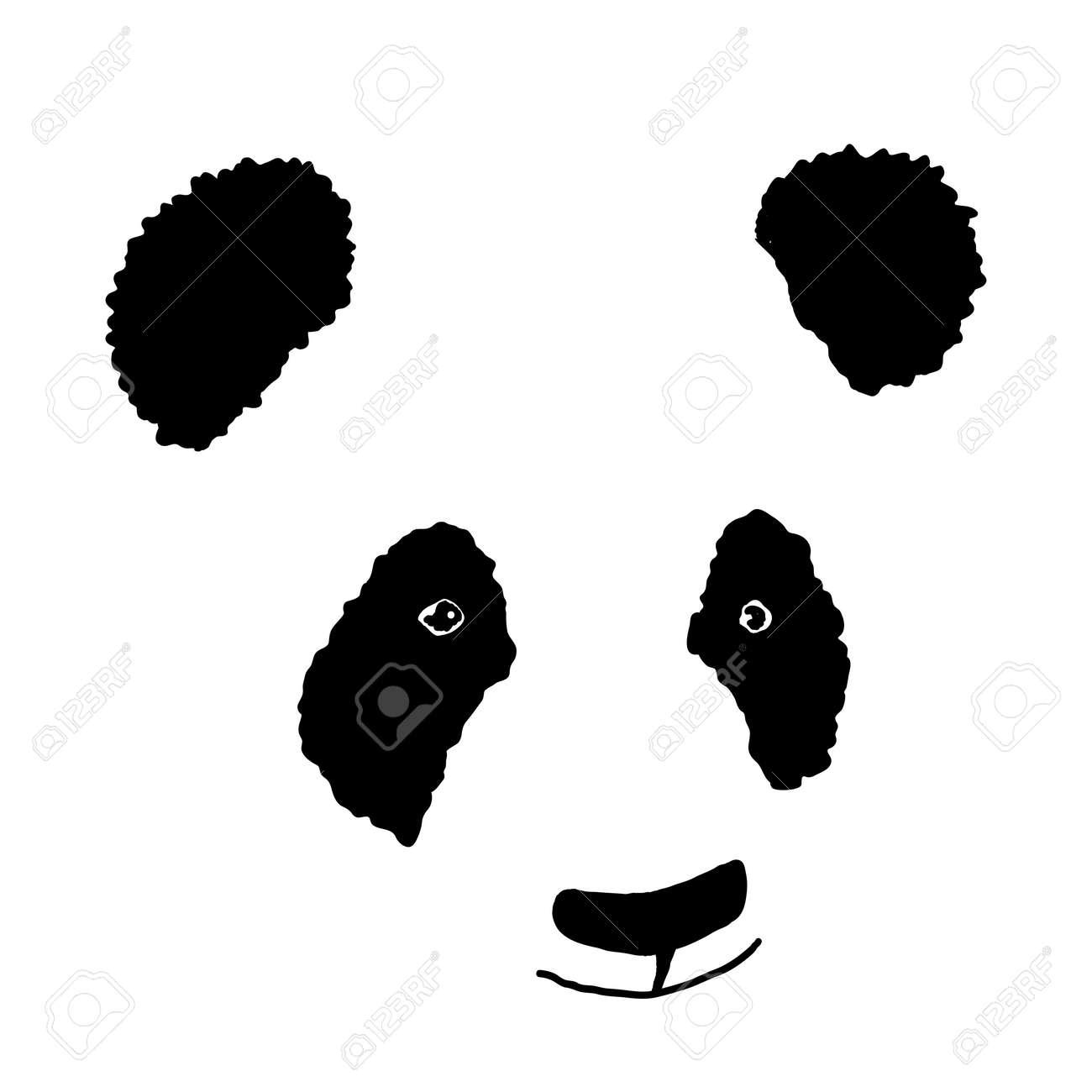 簡単な手描きのパンダ アイコンシルエットのイラスト素材ベクタ