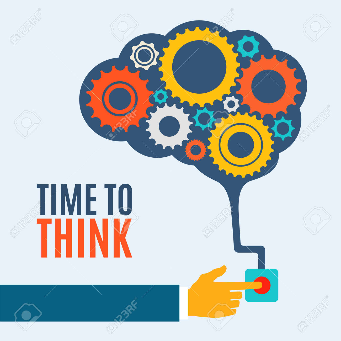 Time to think, creative brain idea concept, background illustration - 32559960
