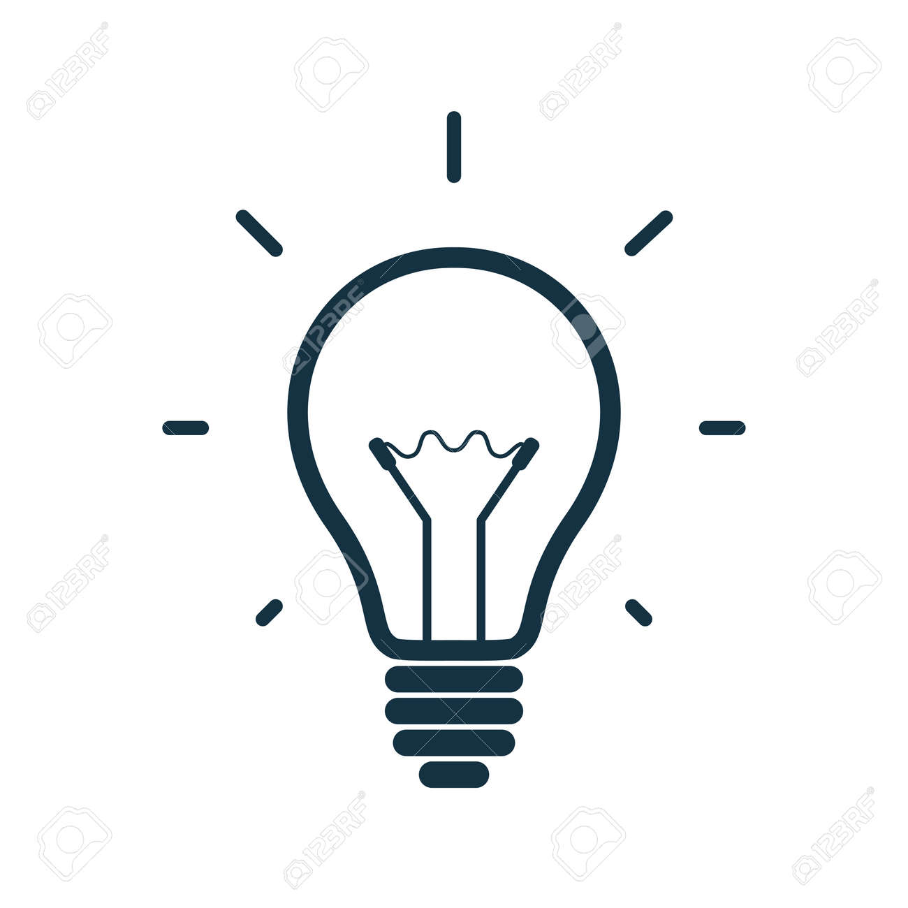 Simple light bulb icon isolated on white background. Vector illustration - 33927271