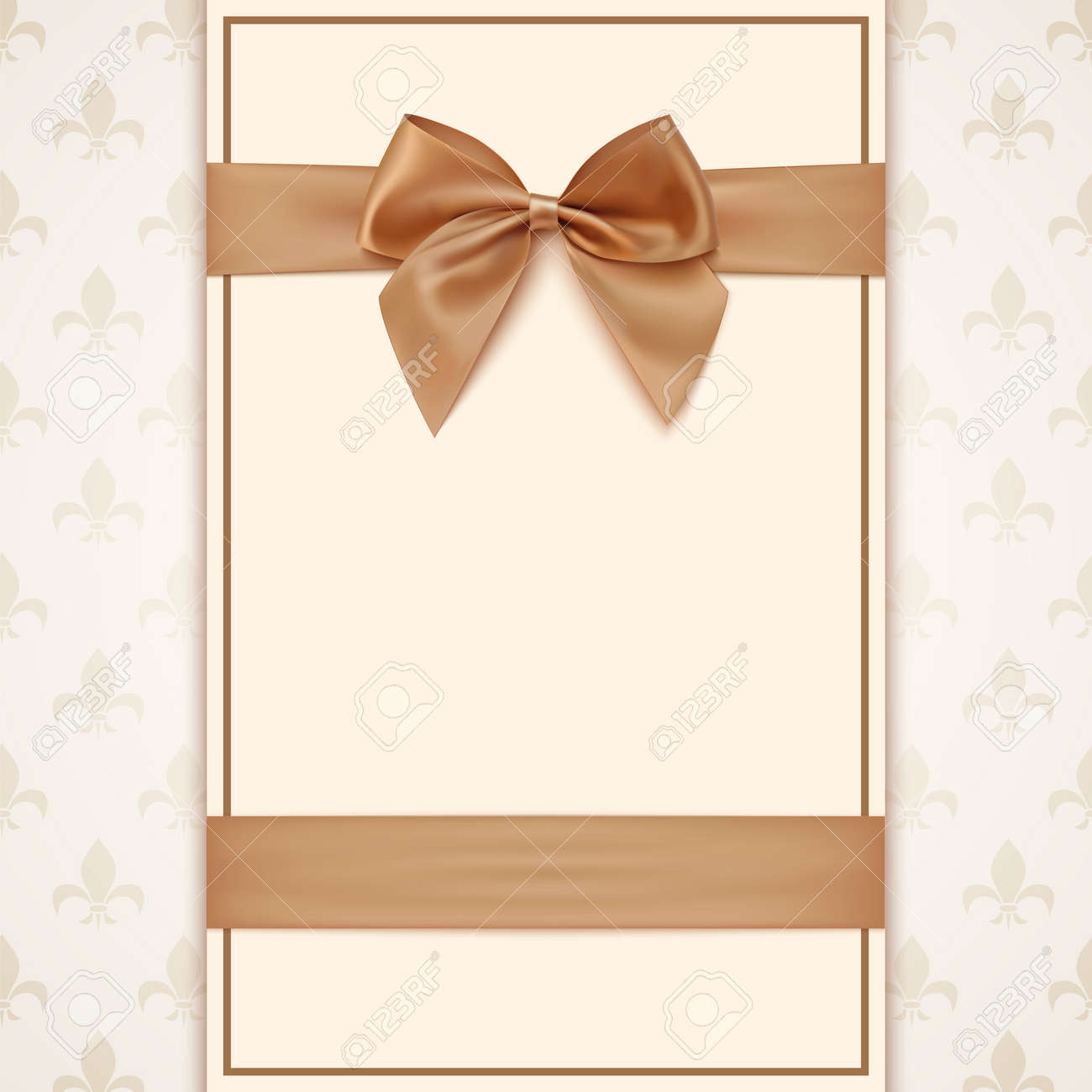 Vintage greeting card template with golden bow and ribbon vector vintage greeting card template with golden bow and ribbon invitation vector illustration stopboris Gallery