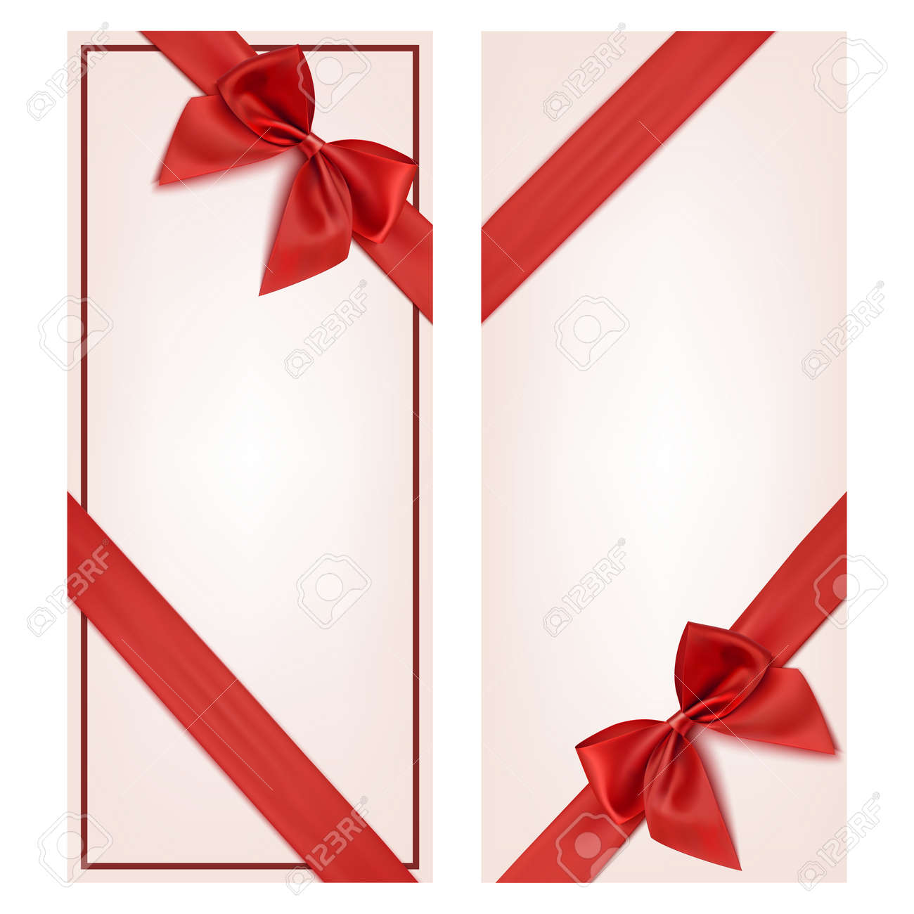 Gift Card With Red Ribbon And A Bow Gift Voucher Template Vector