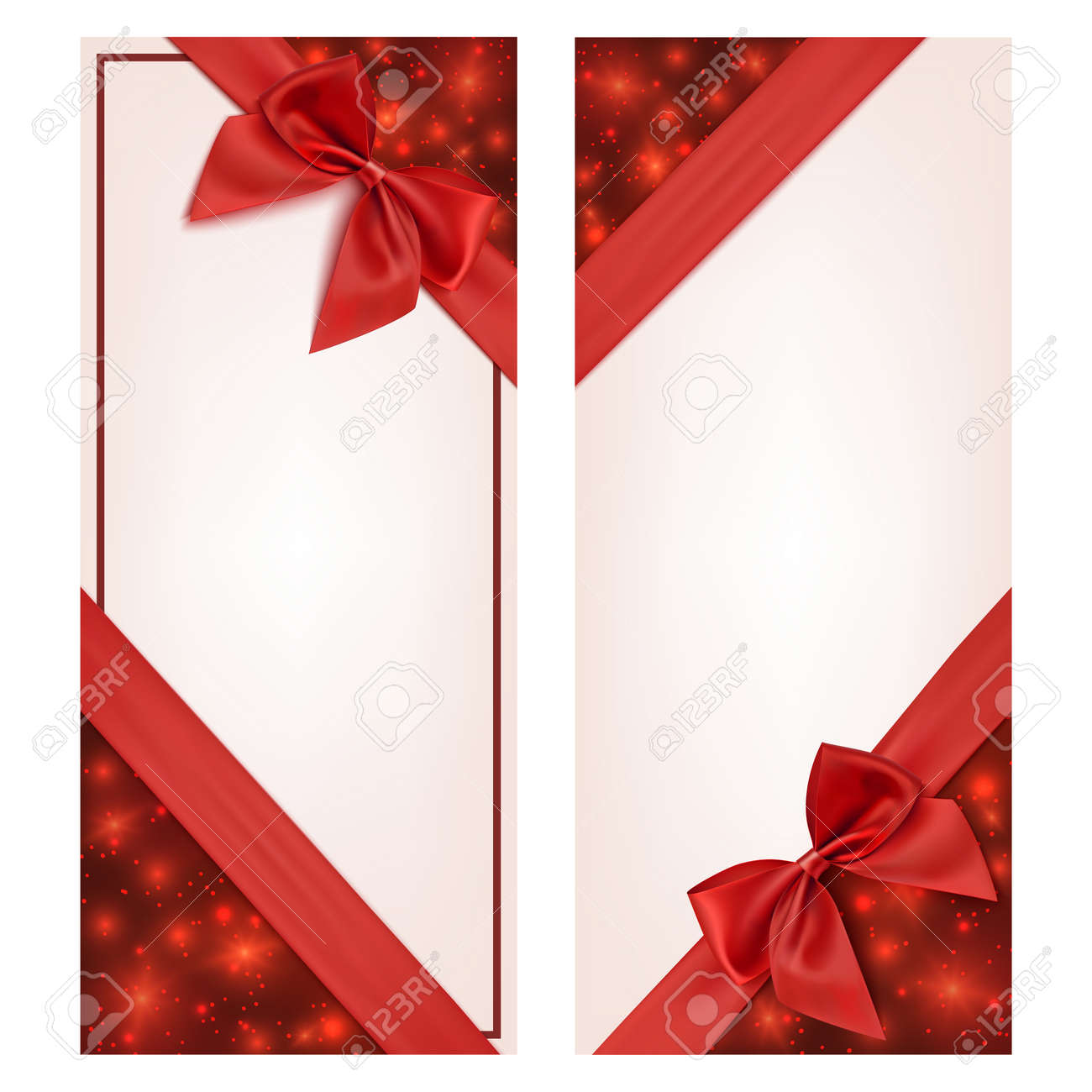 Gift Card With Red Ribbon And A Bow. Gift Voucher Template. Vector ...