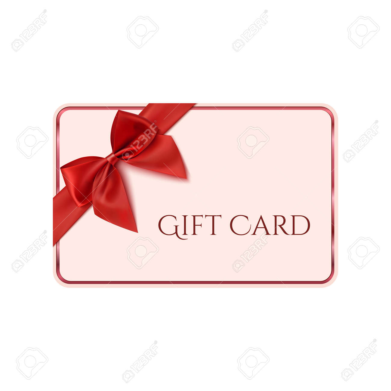 Gift Card Template With Red Ribbon And A Bow Vector Illustration
