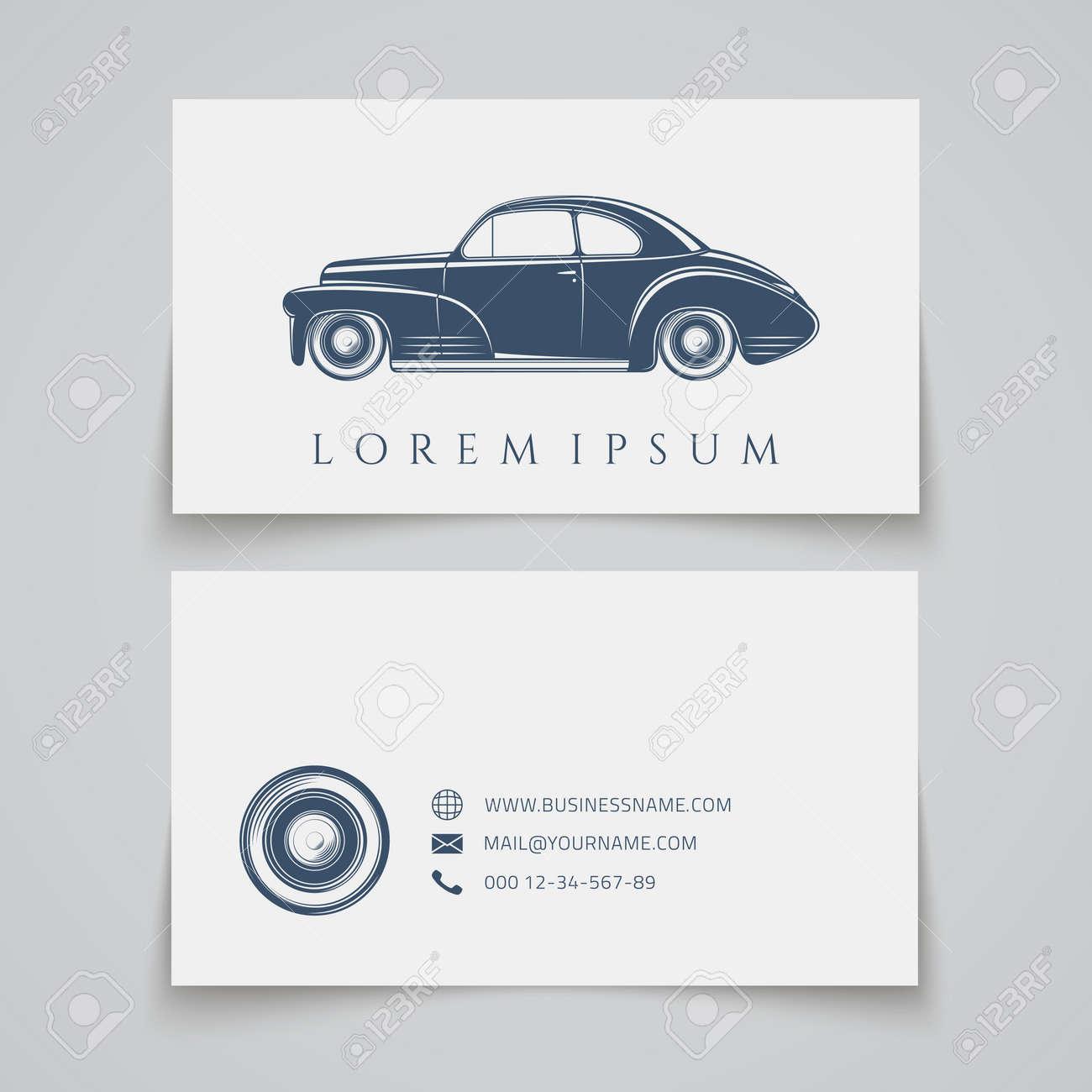 Business Card Template Classic Car Logo Vector Illustration