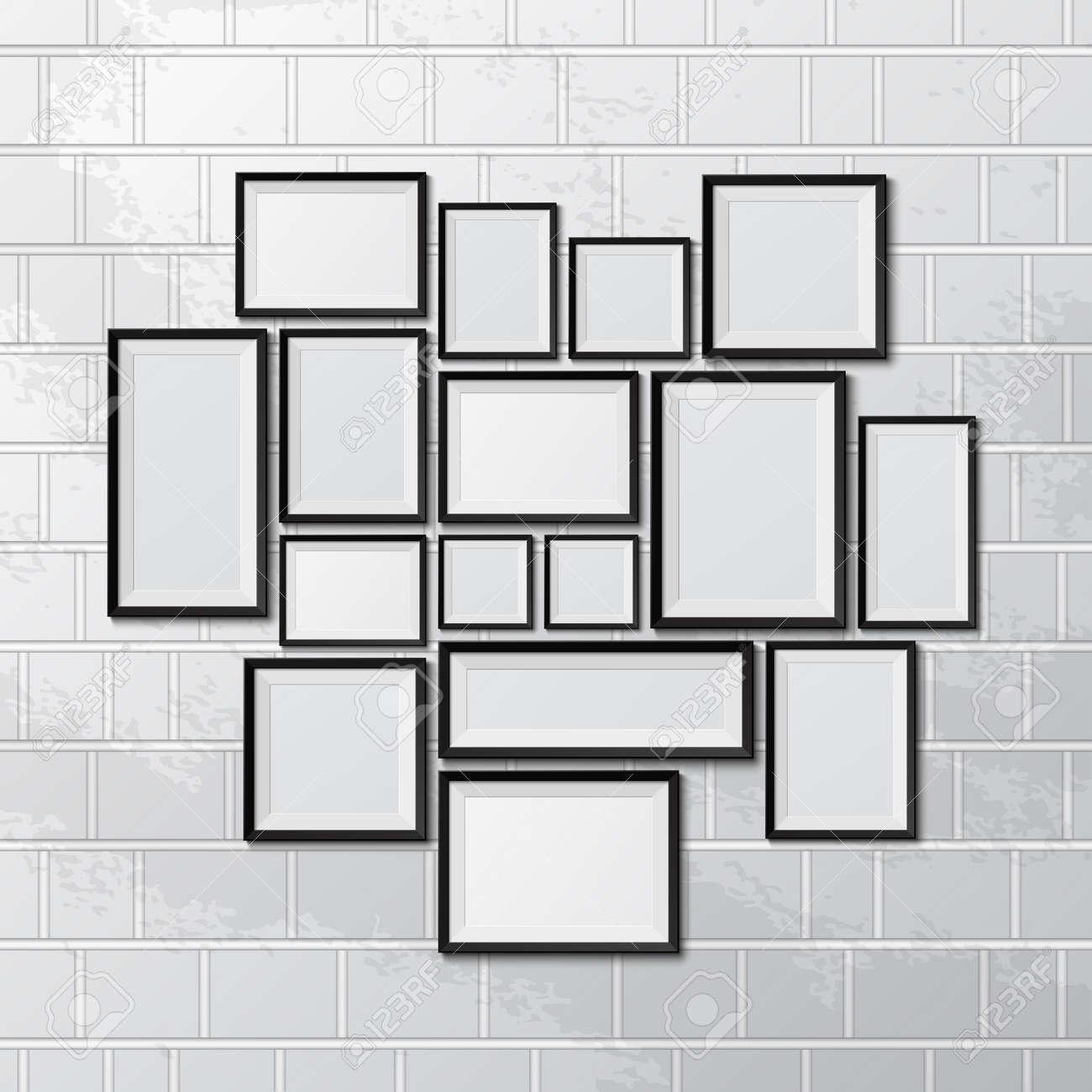 Big set of picture frames on brick wall. Vector illustration - 35966275