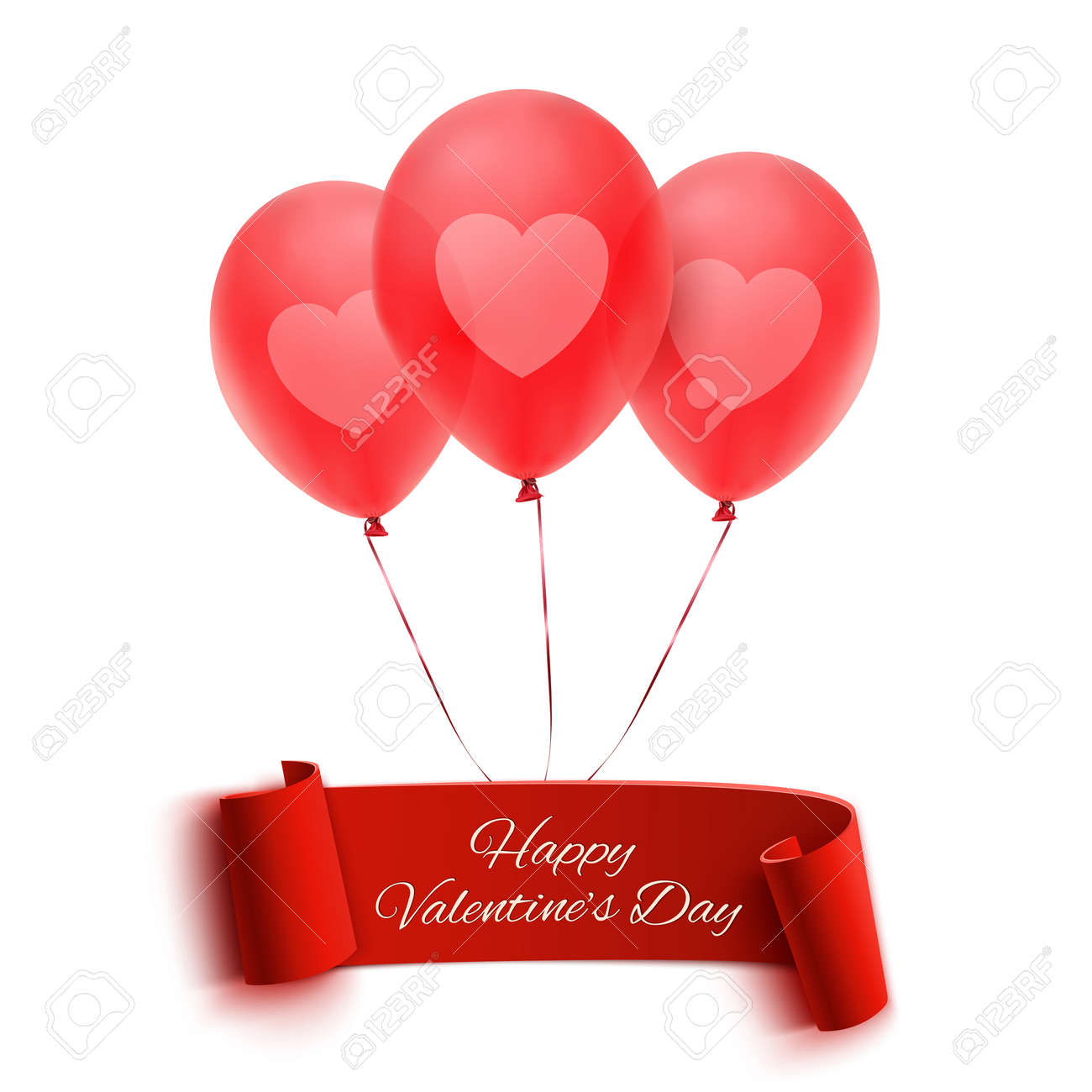 happy valentines day banner with three balloons valentines day greeting card vector illustration stock
