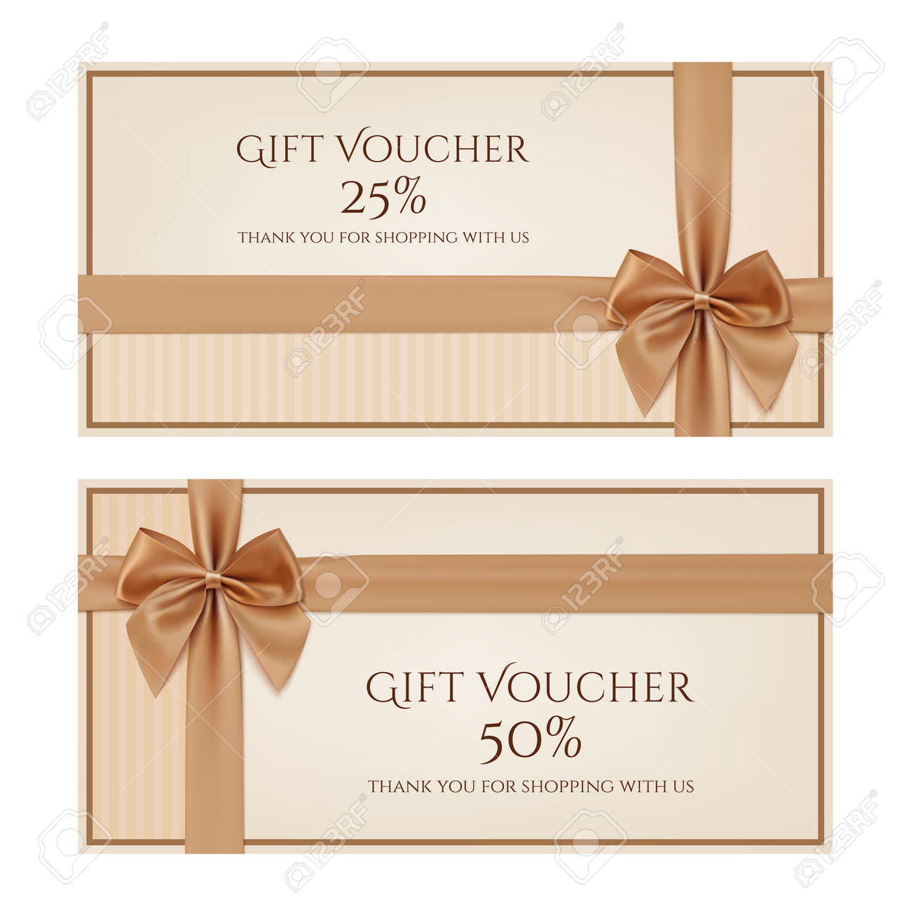 Gift Voucher Template With Golden Ribbon And A Bow Vector