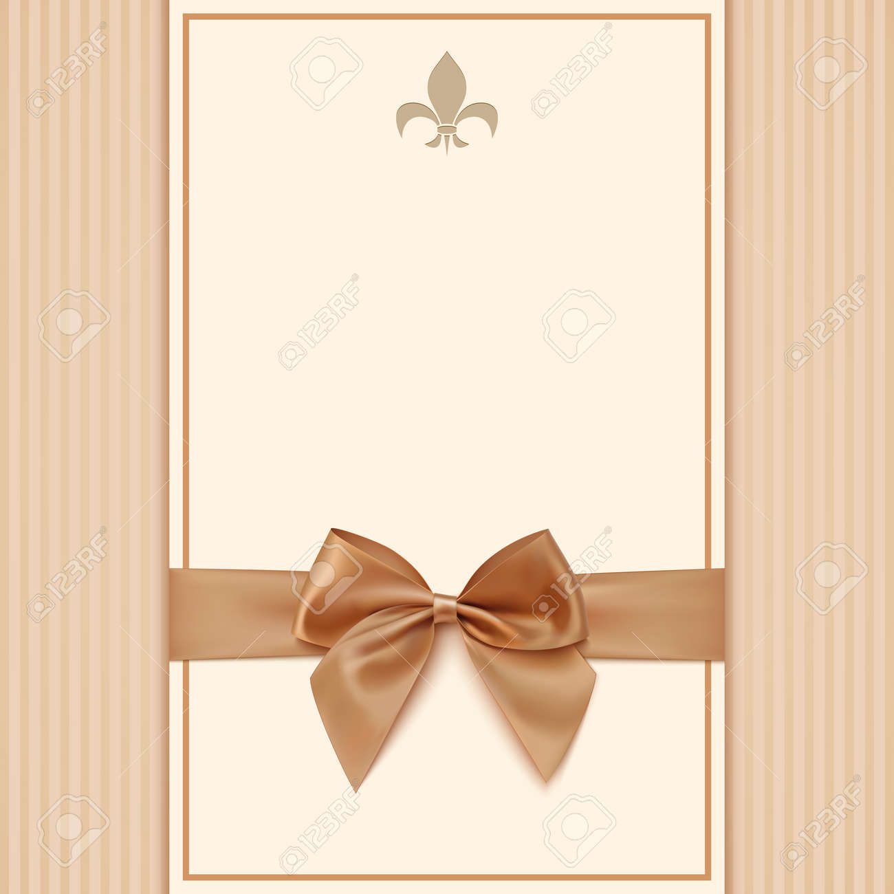 vintage greeting card template with golden bow and ribbon