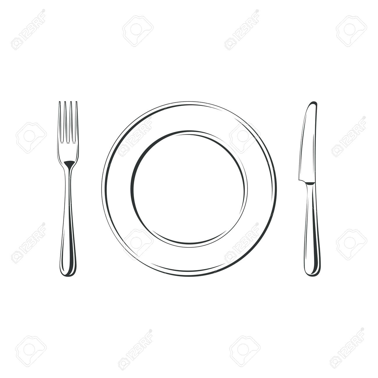 Knife, fork and plate, isolated on white background. Simple Icon. Vector illustration - 36842214