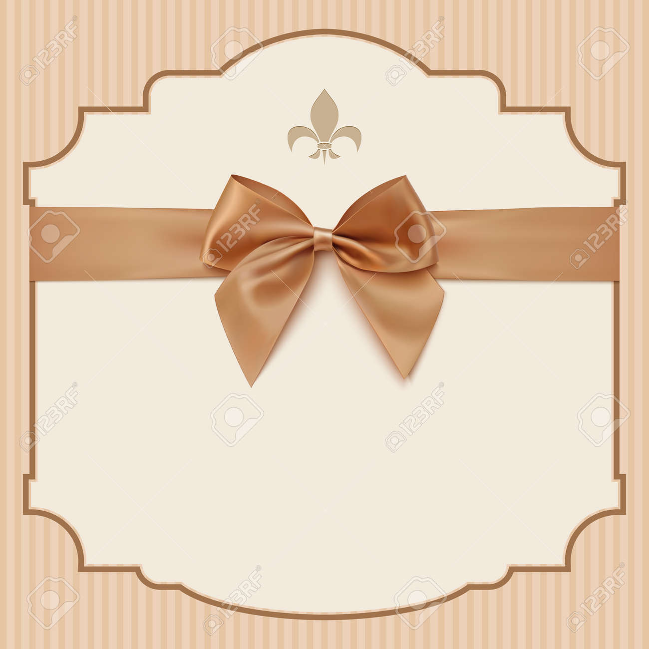 Bowwedding invitation card ntage greeting card template with bowwedding invitation card ntage greeting card template with golden bow and ribbon vector illustration stopboris Gallery