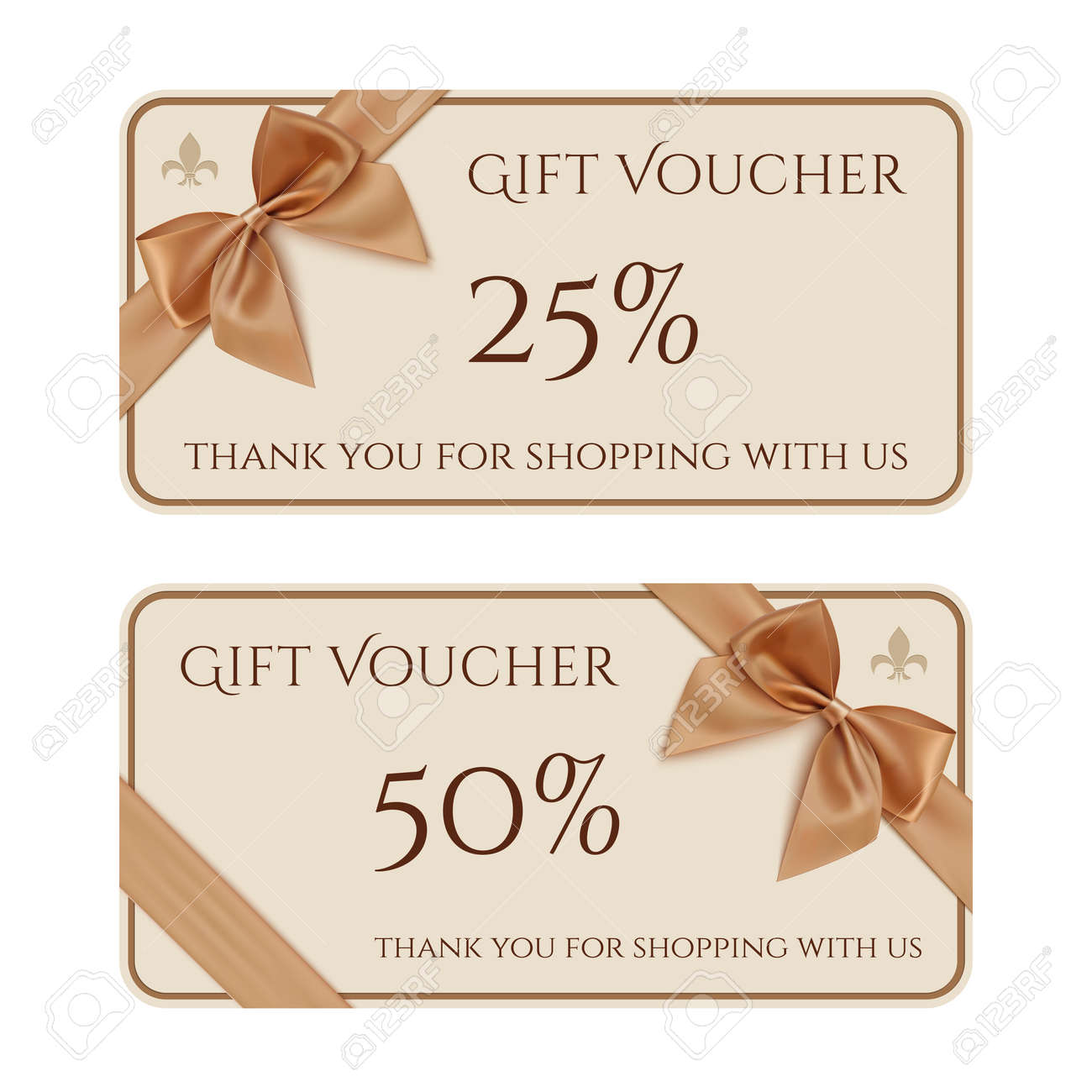 Gift Voucher Template With Golden Ribbon And A Bow. Vector Illustration  Stock Vector   36954991  Present Voucher Template