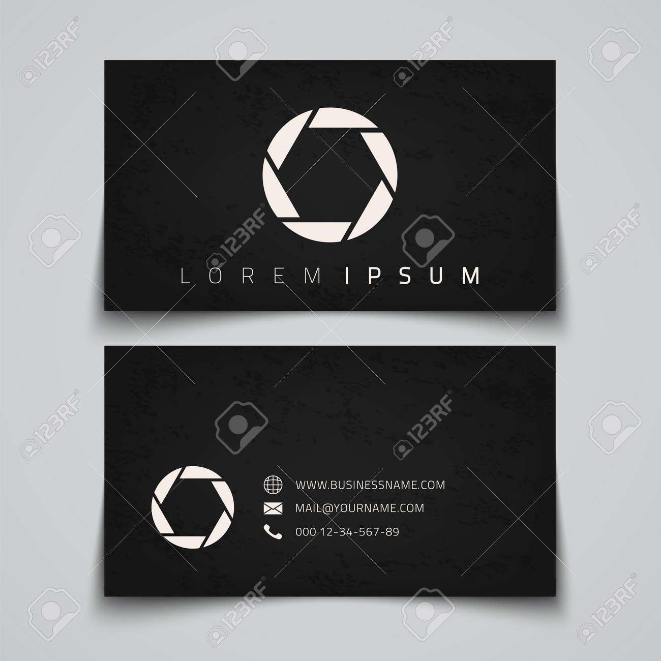 business card template camera shutter concept logo vector