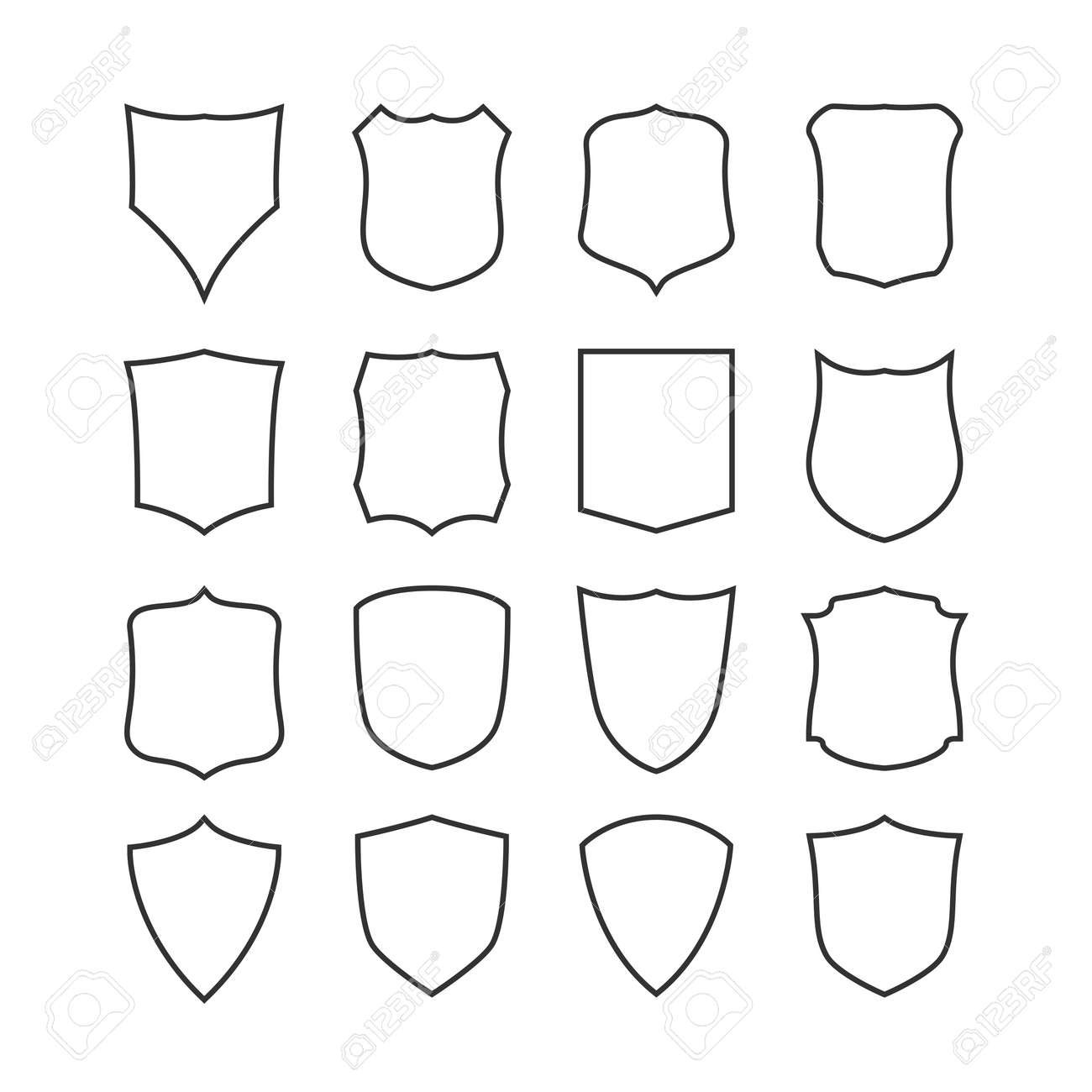 Big Set Of Blank, Classic Shields, Templates. Design Elements ...