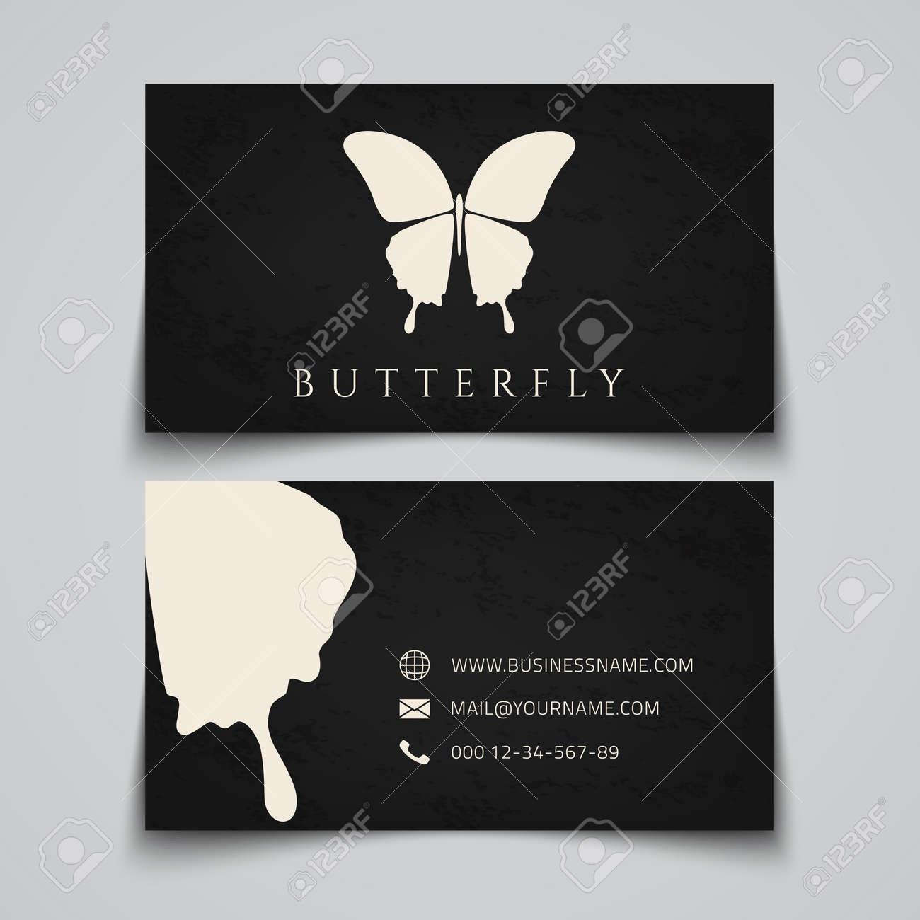 Modle De Carte Visite Papillon Logo Vector Illustration Clip