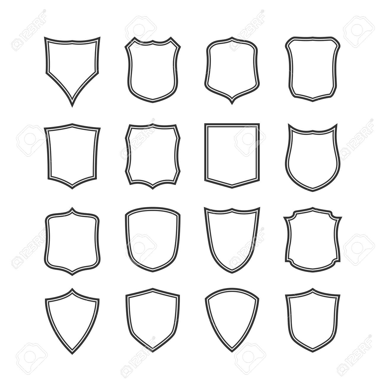 Big Set Of Blank, Classic Shields, Templates. Design Elements ...
