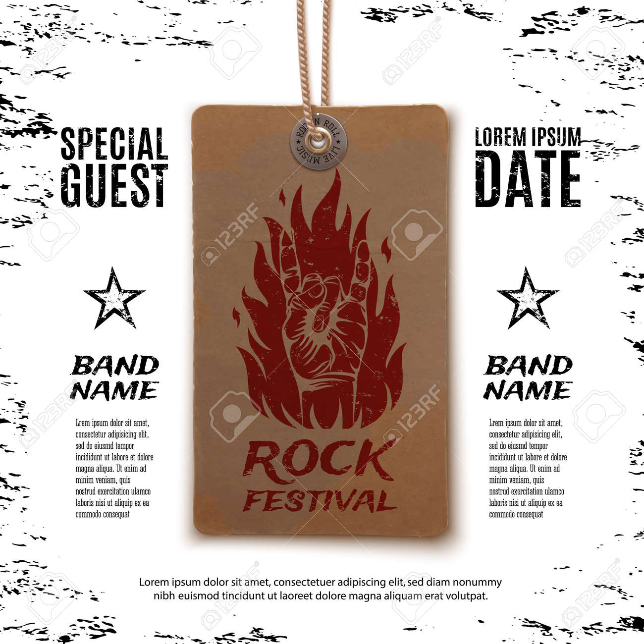 Rock n roll poster design - Grunge Rock Festival Poster With Rock N Roll Sign And Fire On Vintage Price