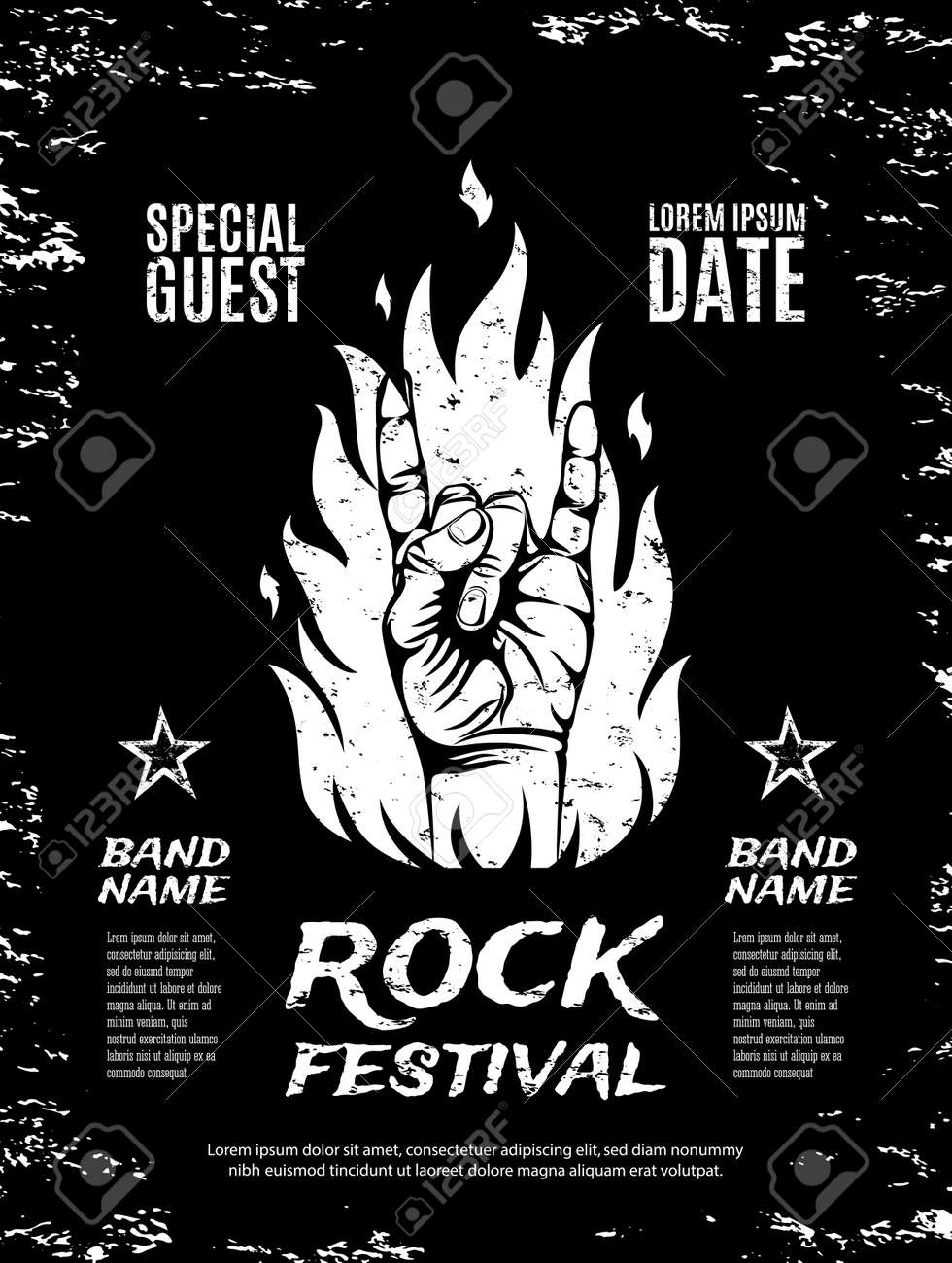 Rock n roll poster design - Grunge Rock Festival Poster With Rock N Roll Sign And Fire Vector Illustration