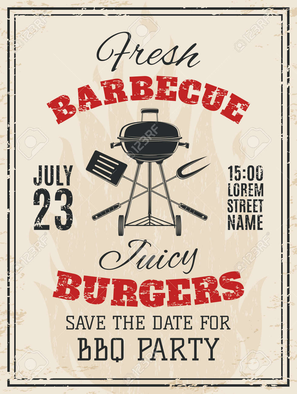 Vintage Barbecue Party Invitation. BBQ Food Flyer Template. Vector  Illustration. Stock Vector