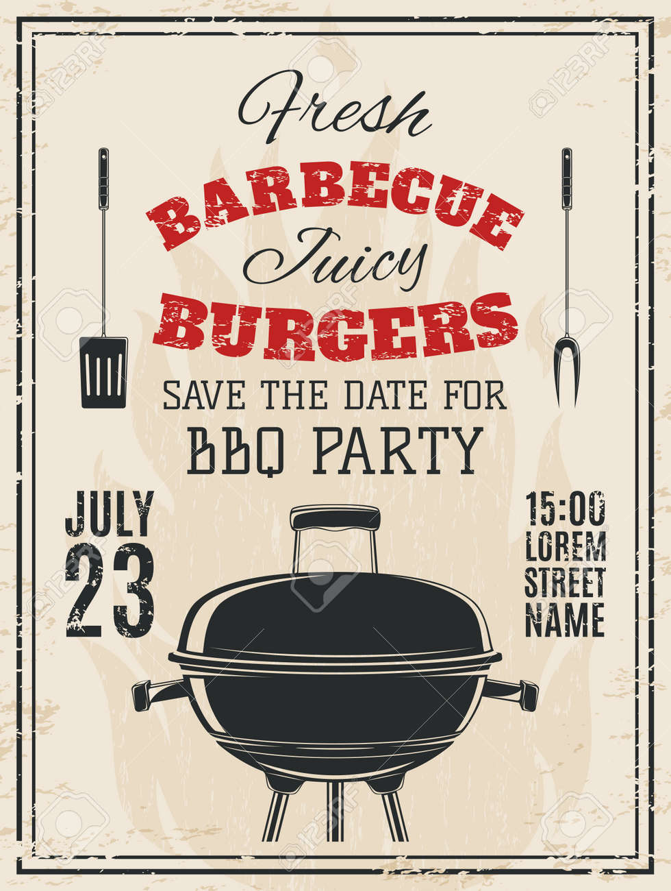 Vintage Barbecue Party Invitation Food Flyer Template Vector - Save the date flyer template