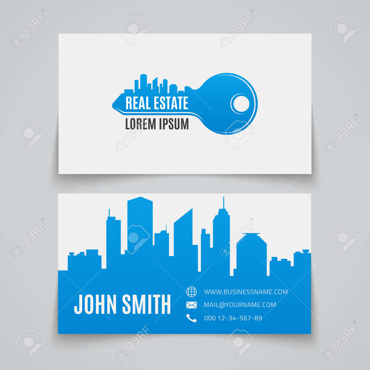 Real Estate Simple Key Logo. Business Card Template. Vector ...