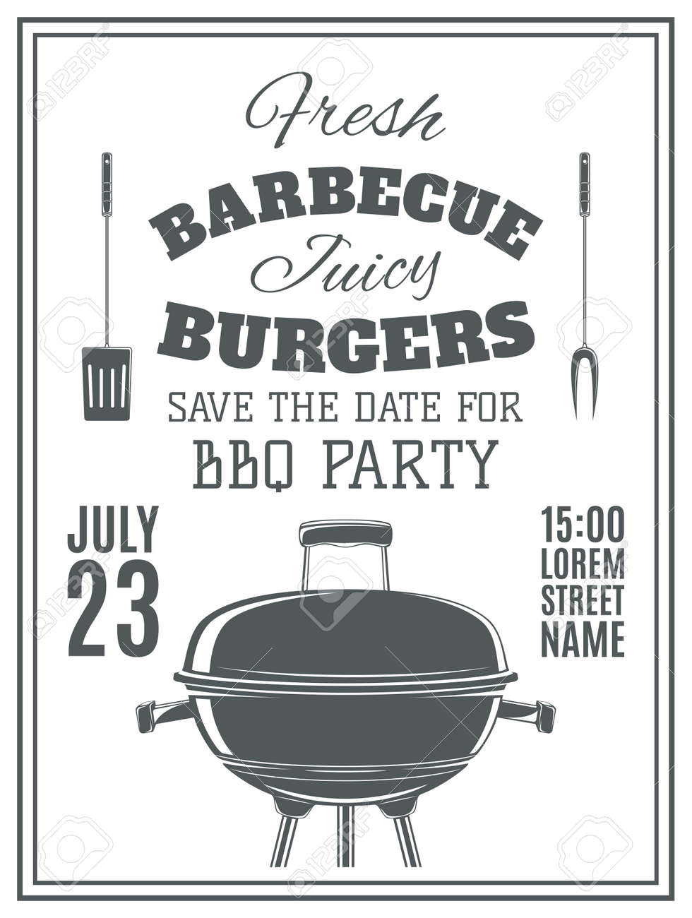 Weinlese Grill Party Einladung. BBQ Essen Flyer Vorlage.  Vektor Illustration.