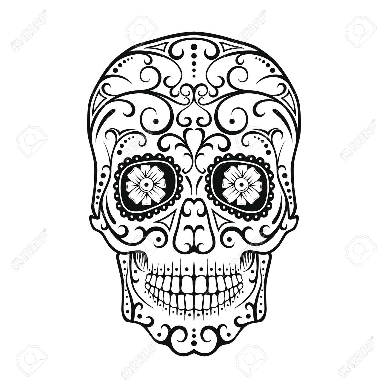 black and white tattoo skull day of the dead candy skull mexican rh 123rf com day of the dead vector graphics day of the dead skull vector