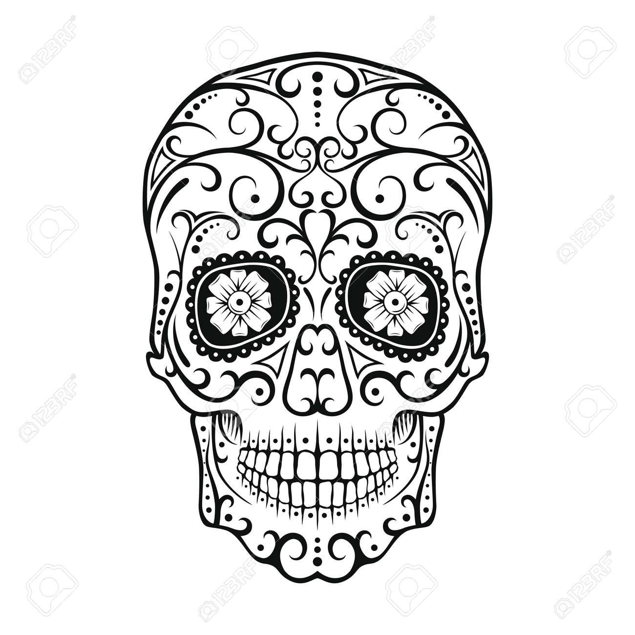 Blanco Y Negro Del Tatuaje Cráneo Día De Todos Los Muertos Cráneo