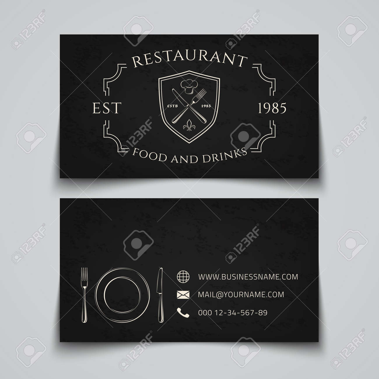 Business Card Template With Logo For Restaurant, Cafe, Bar Or ...