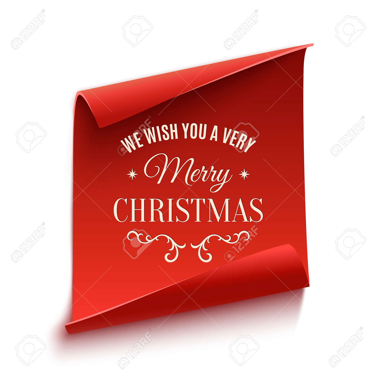We wish you a very Merry Christmas, greeting card template. Red, curved, paper banner isolated on white background. Vector illustration. - 48347817