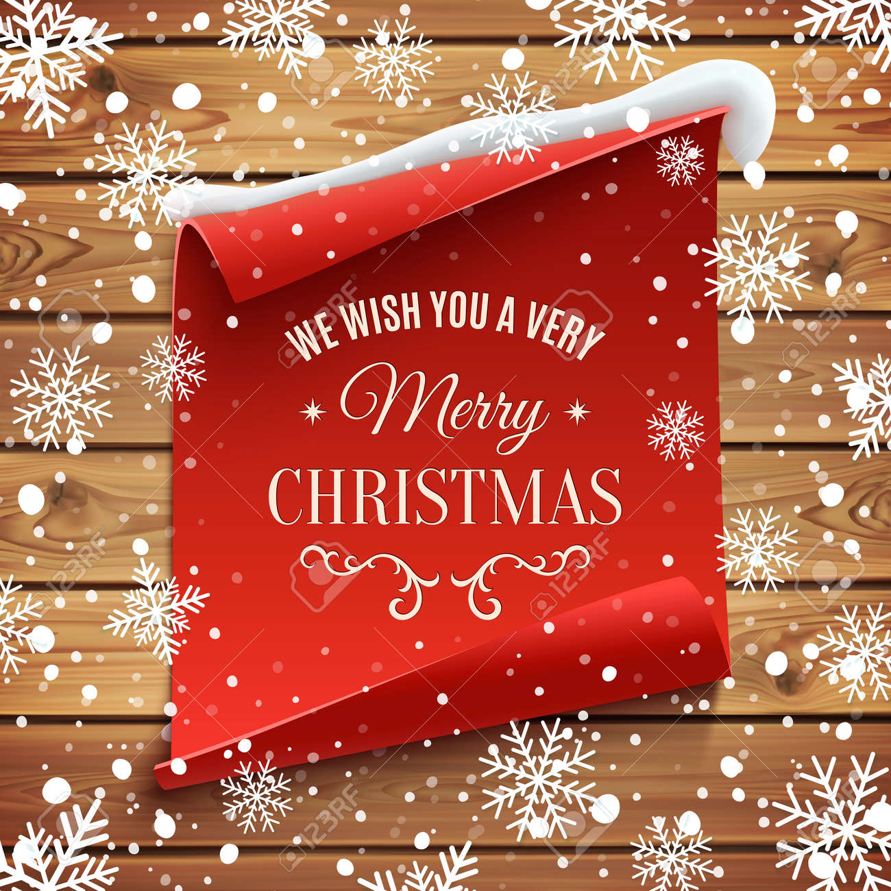 We Wish You A Very Merry Christmas Greeting Card Red Curved