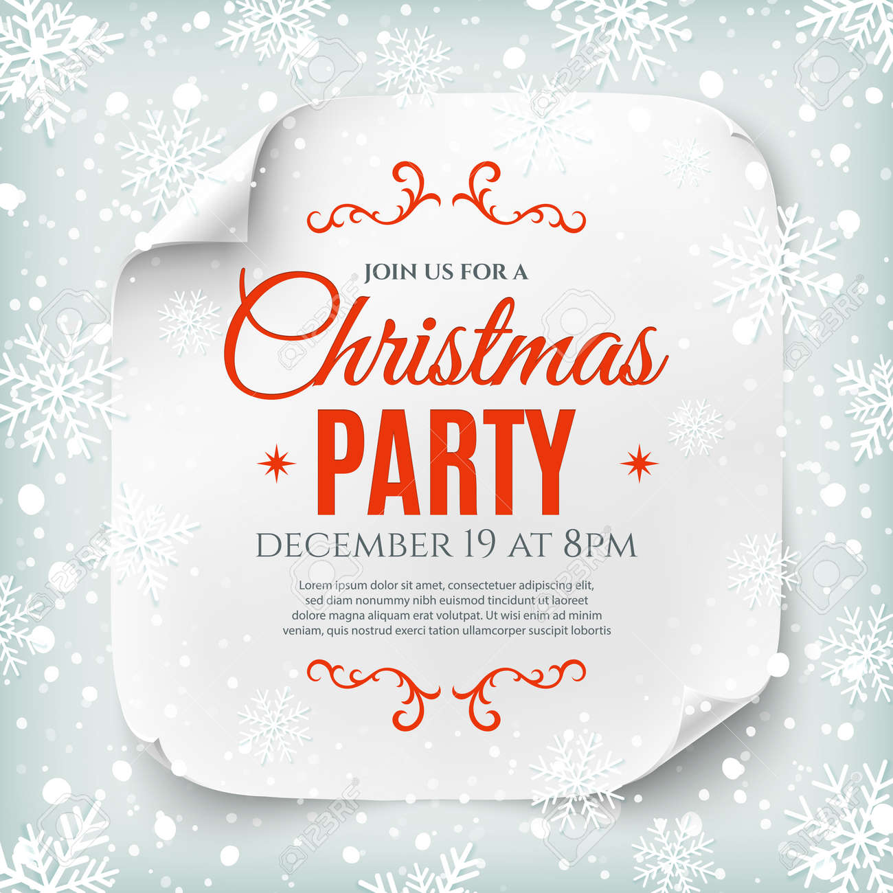Christmas party poster template with snow and snowflakes. Christmas background. White, curved, paper banner. - 49454136