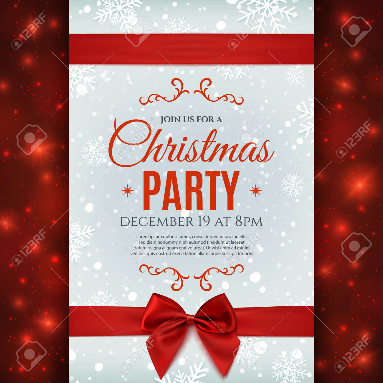 christmas party poster template snow and snowflakes christmas party poster template snow and snowflakes christmas background red ribbon and bow